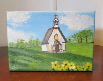 small oil painting,Country Church