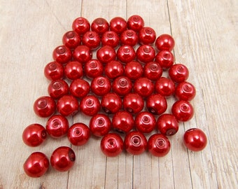 8mm Glass Pearls - Dark Red - 50 pieces - Merlot