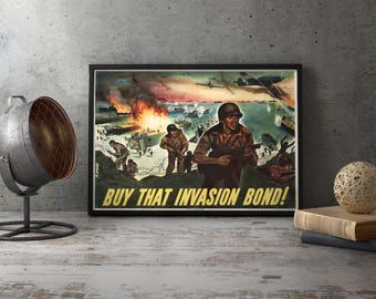 Printable wall art office poster - WW2 D Day Normandy, dday, d-day, dunkirk, world war ii, normandy, omaha, ww2 invasion, wwii invasion