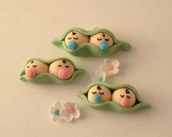 Peas In A Pod Fondant Cupcake Topp