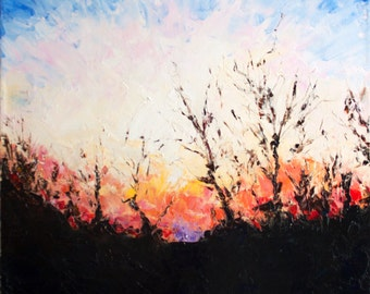 Sunset Painting, Oil Landscape Painting, Impressionist Painting, Palette Knife Painting, Original Painting on Canvas