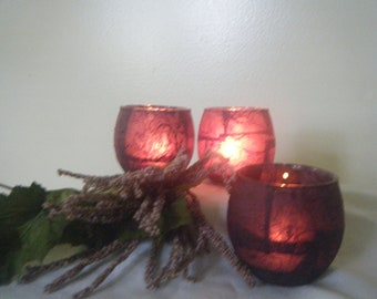 Handcrafted Purple Candle Holders