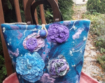 Double sided wet felted womens bag, shopper bag
