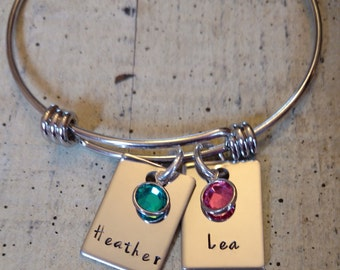 hand stamped name birthstone bangle / personalized name bracelet / Custom mother bracelet / hand stamped jewelry / name birthstone jewelry