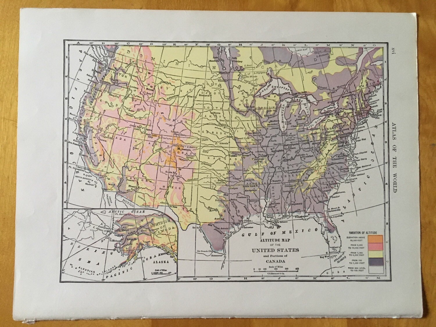 Vintage Map Of United States Altitude Antique Map Of - Old map of canada