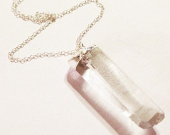 Clear Crystal Quartz Necklace - Sterling Silver Jewelry - Gemstone Jewellery - Spike - Chain - Point