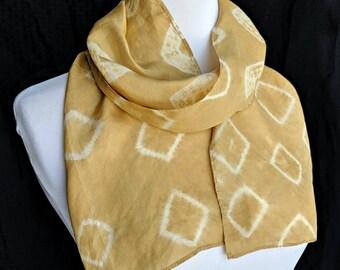 Marigold Natural Dye Silk Scarf. Kumo shibori scarf. Hand Naturally Dyed Yellow Habotai Scarf. Yellow Shibori Scarf. Approx. 8x54 inch. 1EH
