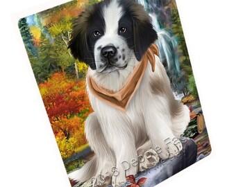 Scenic Waterfall Saint Bernard Dog Magnet Small/Mini