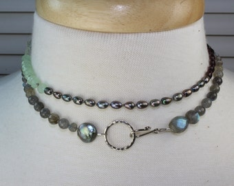 Silver pearl garnet, pyrite, labradorite wrap gemstone necklace, amethyst, mint pearl long necklace