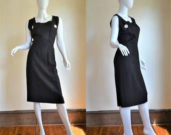 1950s Trigere New York Minimalist Perfection Linen Little Black Hourglass Dress