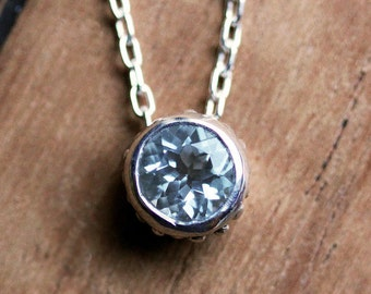 Aquamarine necklace, bezel necklace, solitaire necklace, March birthstone necklace, recycled sterling silver, ready to ship wrought