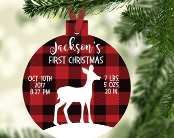 Babys First Christmas Ornament New Baby Gift  Baby Ornament Baby Personalized Christmas Ornaments Deer black and red plaid