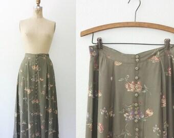 floral print skirt / rayon skirt / Old English Rose skirt