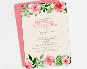 Bridal Shower Invitation, Printable Invitation, PDF Invitation, Printed Invitations, Watercolors, Flowers, Florals, Pink, Roses, jpeg, Lucy