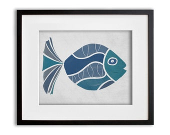 Turquoise Fish Wall Art 8x10 or 11x14 Graphic Print