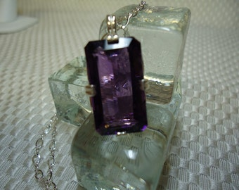 Emerald cut Color Change Amethyst Necklace in Sterling Silver    #1255