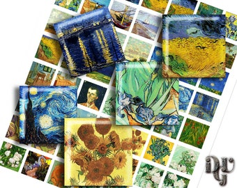 "VAN GOGH Digital Collage Sheets 1""x1"" Square images Fine Art Paintings Van Gogh 1 inch x 1 inch Art digital images for Pendant Jewelry  Q007"