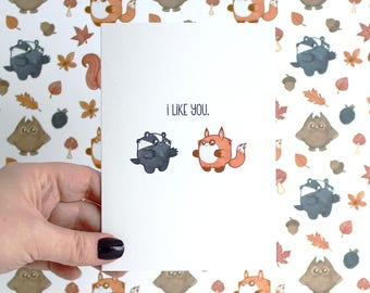 fox & badger I like you card, love card, anniversary card, card for boyfriend, funny card cute card, greeting card, best friend card