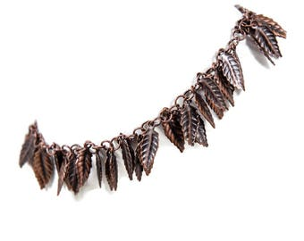 Copper Anklet With Dangling Leaves