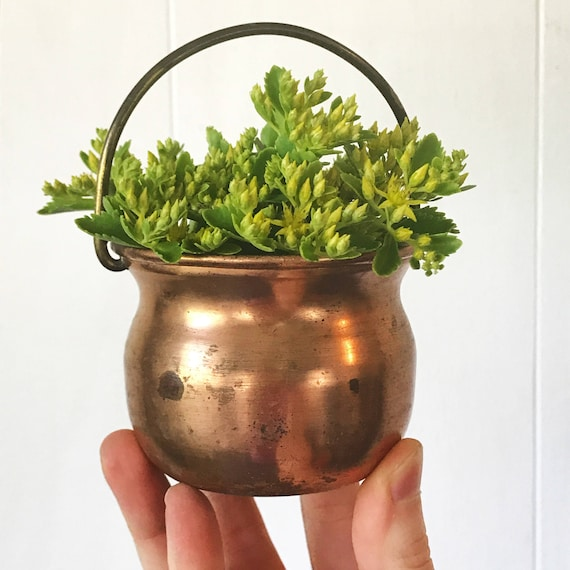 vintage copper pot with brass handle - mini metal planter - french farmhouse boho