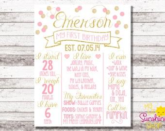 Pink and Gold Birthday Poster | 1st Birthday Milestone Poster | Custom Chalkboard | Pink Gold Glitter | Girl Birthday | Photo Prop | Digital