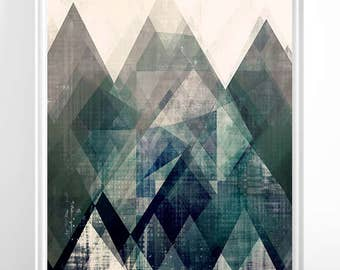 Mountains print, Abstract print, geometric wall art, abstract mountain, minimalist art, modern art, scandinavian print, minimalist abstract
