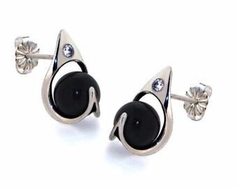 RA Black Onyx Earrings, Onyx Posts Earrings, Sterling Silver Earrings, Small Silver Posts, Egyptian Jewelry