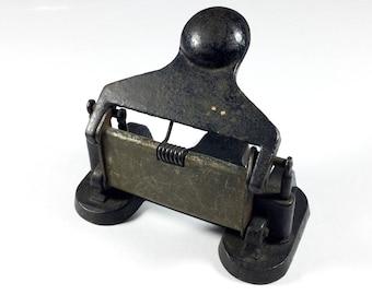 Vintage hole punch, Cast metal, Desktop paper puncher, G Edwards & Son, Office equipment, Industrial decor