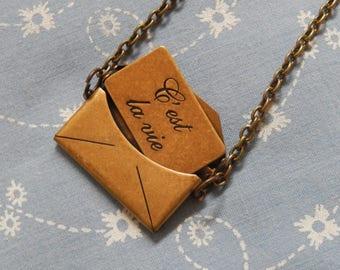 Antique Brass Plated C'est La Vie Envelope Pendant Necklace