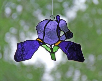 Stained Glass Iris Suncatcher, Unique Wedding Gift, Anniversary Gift, Nature Inspired