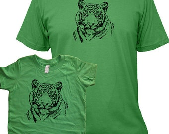 Matching Father Son or Father Daughter Shirts, Tiger T shirts Christmas present idea new dad shirt father twinning gift for dad from son