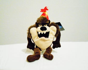Warner Brothers Tazmanian Devil Happy Birthday, Wearing a Devilish Taz Smile And A Birthday Party Hat In Red And Yellow!New With Tags!