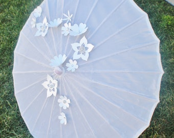 """Silk wedding parasol with bling and flowers white, pink, lavender, light blue available 30"""" si"""