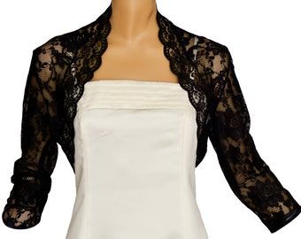Ladies Black Lace 3/4 Sleeve Bolero Shrug Jacket Sizes 8-30