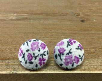 Fabric Button Earrings - Floral Earrings - Fabric Covered Buttons - Button Earrings - Fabric Earrings - Light Purple Floral
