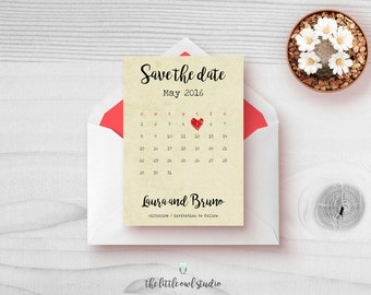PRINTABLE A5 or A6 Save the Date Calendar - Wedding Invites - Invitation - digital download PDF - shabby chic - handwritten - cute - barn