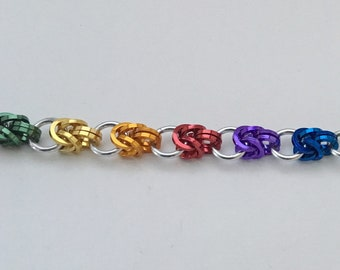 Rainbow Pride colorful chainmaille bracelet Half Byzantine square wire