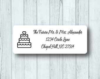 Wedding Cake Return Address Labels - Personalized Wedding, Engagement, or Save the Date Mailing Labels - Matte White, Kraft, or Clear Gloss