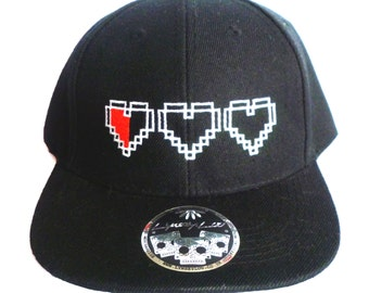 SALE - 8 Bit Pixel Heart Flat Peak Snapback - Zelda Inspired - Gamer Headwear