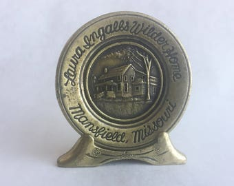 "2"" Brass Souvenir Plate from Laura Ingalls Wilder Home"
