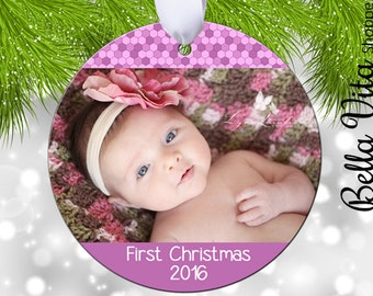 Baby's First Christmas Photo Ornament - Baby Girl - Baby Stats Double Sided - Keepsake Pink Personalized -  Christmas Tree Ornament 6080
