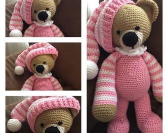 Crochet Amigurumi Toy Sleepytime Bedtime Pink Pajama Teddy Bear Stuffed Animal Plushie Softie