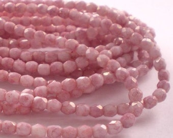100 Pink Picasso Czech Glass Fire Polished 4mm Faceted Round Beads 4mm/096