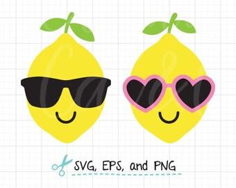 Lemon SVG Lemon Wearing Sunglasses svg Summer Lemon with Sunglasses svg EPS Files Cute Lemon svg Summer Fruit with Sunglasses svg Cut File
