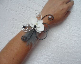 Flowers for bride or witness - black white and silver bracelet