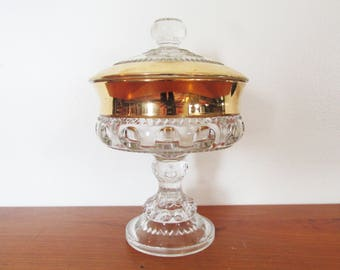 Kings Crown Gold Trimmed Thumbprint Lidded Compote Indiana Glass et