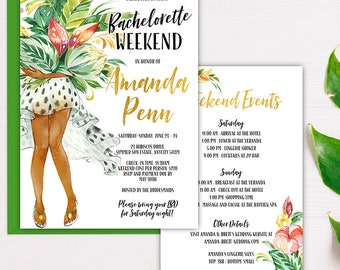 Bachelorette Weekend Invitation, Tropical Summer Fun Sexy Weekend Getaway Bridal Shower Party, Lingerie Shower Digital Printable Invite