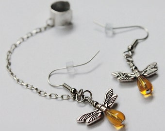 Your choice - Firefly ear cuff chain earrings