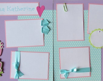 PERSONALIZED BaBY GiRL ~ 12x12 Premade Scrapbook Pages, scrapbooking layout, baby's name, elephant, baby's first year album, newborn photos