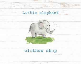 Elephant Logo - HAND DRAWN logo - Logo design - Pre made logo - Customizable logo - Cute animal logo - HAND made